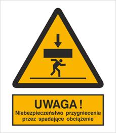 Obrazek dla kategorii Znak Ostrzeżenie przed niebezpieczeństwem przygniecnia przez spadające obciążenie (343)