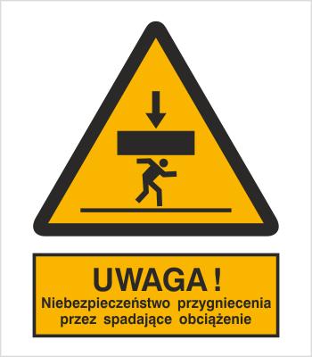 Znak Ostrzeżenie przed niebezpieczeństwem przygniecnia przez spadające obciążenie (343)