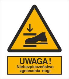 Obrazek dla kategorii Znak Ostrzeżenie przed niebezpieczeństwem zgniecenia nogi (344)