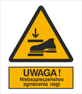 Znak Ostrzeżenie przed niebezpieczeństwem zgniecenia nogi (344)