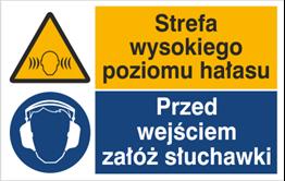Obrazek dla kategorii Znak Strefa wysokiego poziomu hałasu. Przed wejściem załóż słuchawki (520-03)