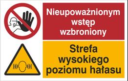 Obrazek dla kategorii Znak Nieupoważnionym wstęp wzbroniony. Strefa wysokiego poziomu hałasu (520-05)