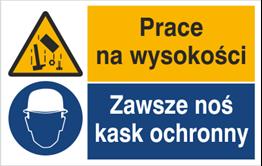 Obrazek dla kategorii Znak Prace na wysokości. Zawsze noś kask ochronny (520-06)