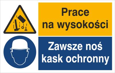 Znak Prace na wysokości. Zawsze noś kask ochronny (520-06)