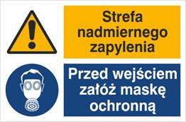 Obrazek dla kategorii Znak Strefa nadmiernego zapylenia. Przed wejściem załóż maskę ochronną (520-07)