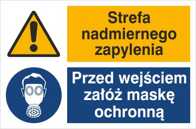 Znak Strefa nadmiernego zapylenia. Przed wejściem załóż maskę ochronną (520-07)