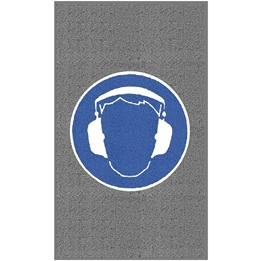 """Obrazek  Mata z logiem do śred. nat. ruchu """"Ochrona słuchu"""" układ pionowy 90x150cm"""