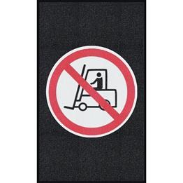 """Obrazek  Mata z logiem do dużego natężenia ruchu """"Zakaz jazdy wózkiem"""" układ pionowy 90x150cm"""