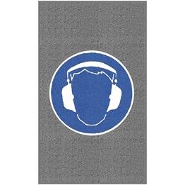 """Obrazek  Mata z logiem do dużego natężenia ruchu """"Ochrona słuchu"""" układ pionowy 90x150cm"""