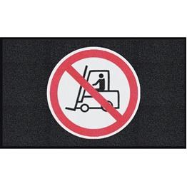 """Obrazek  Mata z logiem do dużego natężenia ruchu """"Zakaz jazdy wózkiem"""" układ poziomy 90x150cm"""