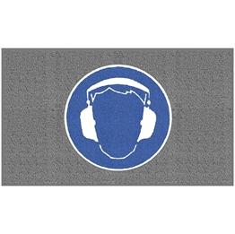 """Obrazek  Mata z logiem do dużego natężenia ruchu """"Ochrona słuchu"""" układ poziomy 90x150cm"""