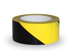 Taśma ostrzegawcza samoprzylepna, 5cm x 33m  - PCV, czarno-żółta