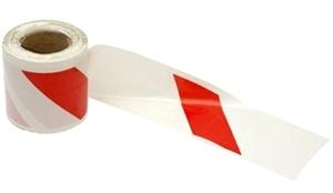 Obrazek Taśma BHP z PCV, dwustronna biało-czerwona 8,5cm x 100 mb