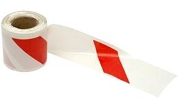 Obrazek Taśma bezpieczeństwa z PCV, dwustronna biało-czerwona 8,5cm x 500 mb