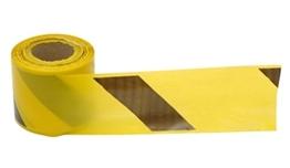 Obrazek Taśma żółto czarna z PCV, dwustronna 8,5cm x 500 mb