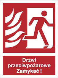 Obrazek Drzwi przeciwpożarowe. Zamykać! (w prawo)