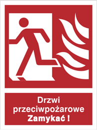 Obrazek Drzwi przeciwpożarowe. Zamykać! (w lewo)