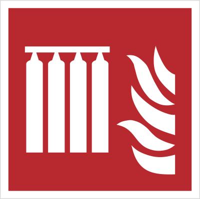 Znak bateria stałego urządzenia gaśniczego wg PN-EN ISO 7010 (F08)