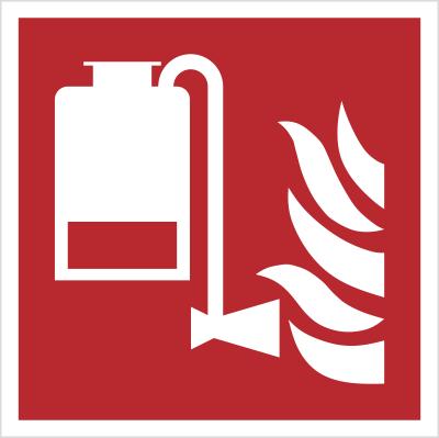 Znak przenośna jednostka podawania piany wg PN-EN ISO 7010 (F10)