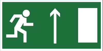Znak Kierunek do wyścia drogi ewakuacyjnej w górę 102-06 (znak uzupełniający)