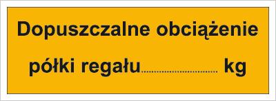 Dopuszczalne obciążenie półki regału: …kg (853-06)