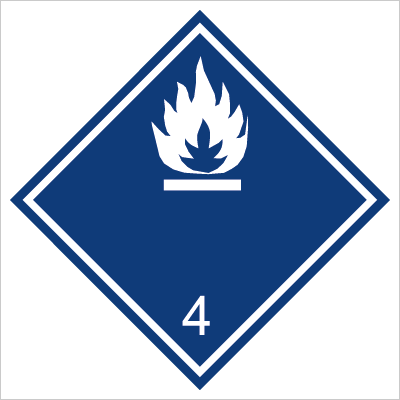 Znak Materiały wytwarzające w zetknięciu z wodą gazy palne (215-12)