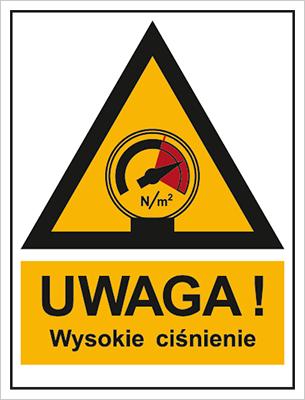 Znak Ostrzeżenie przed wysokim ciśnieniem (800-99)