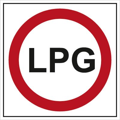 Znak Zakaz wjazdu samochodów zasilanych gazem