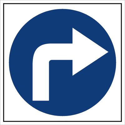 Znak Nakaz jazdy w prawo (703-02)