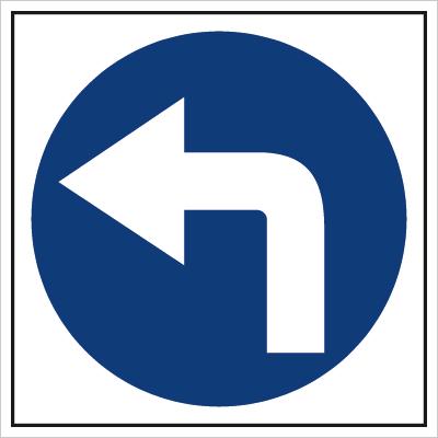 Znak Nakaz jazdy w lewo (703-03)