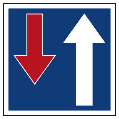 Znak Pierwszeństwo na zwężonym odcinku drogi (703-11)
