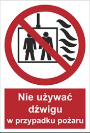 Obrazek dla kategorii Znak Nie używać dźwigu w przypadku pożaru (154-03)