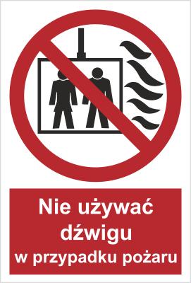 Znak Nie używać dźwigu w przypadku pożaru (154-03)