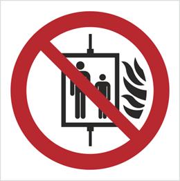 Obrazek dla kategorii Znak Nie używać dźwigu w przypadku pożaru (154-04)