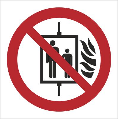 Znak Nie używać dźwigu w przypadku pożaru (154-04)