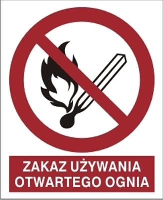 Znak Zakaz używania ognia otwartego (210-03)