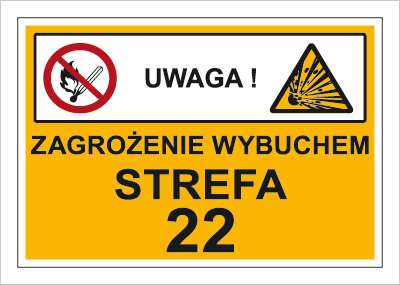Znak Zagrożenie wybuchem. Strefa 22 (870-08)