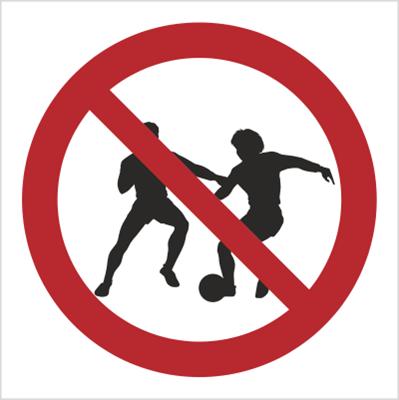 Znak zakaz gry w piłkę - znak bez opisu (600)