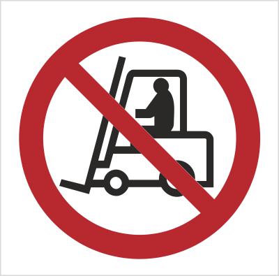 Znak Zakaz ruchu urządzeń do transportu poziomego - bez opisu (604)