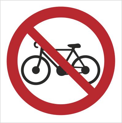 Znak Zakaz wprowadzania rowerów (612-01)