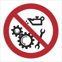 Obrazek dla kategorii Znak Zakaz smarowania urządzeń w ruchu (618)
