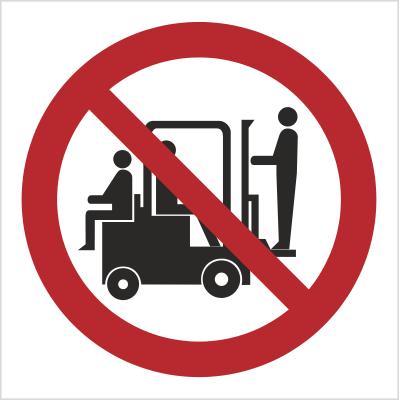 Znak Zakaz przewozu osób na urządzeniach transoprtowych (619)