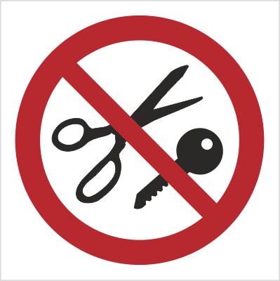 Znak Zakaz wstępu z przedmiotami metalowymi (622)