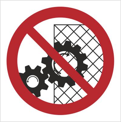 Znak Zakaz zdejmowania osłon podczas pracy urządzenia (626)