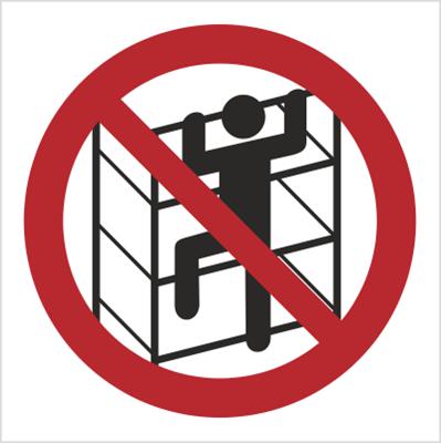 Znak Zakaz wchodzenia na regały (627)