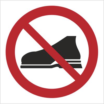 Znak Zakaz wchodzenie w obuwiu zewnętrznym (634)