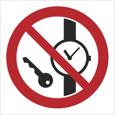 Znak Zakaz wstępu z przedmiotami metalowymi i zegarkami (636)