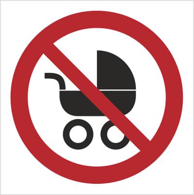 Znak Zakaz wchodzenia z wózkami dziecięcymi (638)
