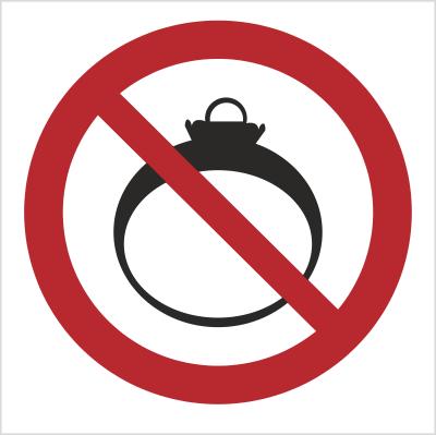 Znak Zakaz noszenia biżuterii (639)