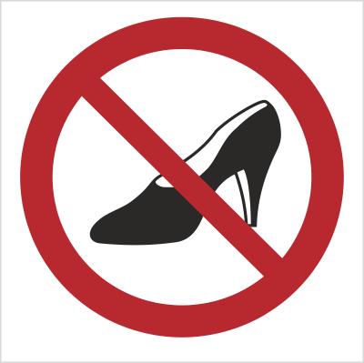 Znak Zakaz używania obuwia na wysokim obcasie (640)